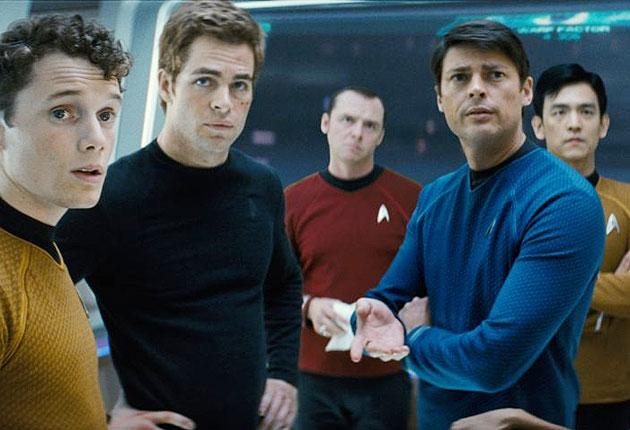 JJ Abrams' Star Trek crew, including Chris Pine, second left, as Captain James T Kirk
