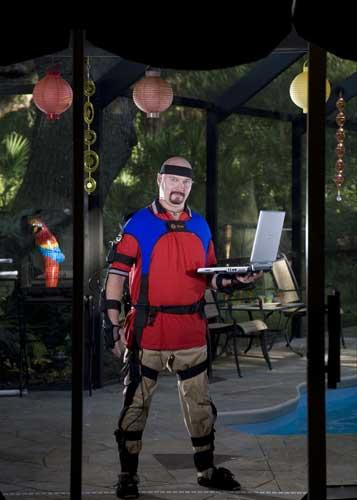 Feel the love: Alderman in a motion-capture suit, which makes online sex more realistic