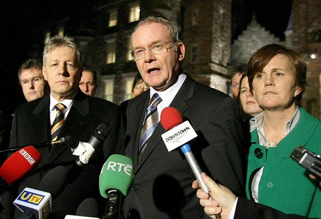 First Minister Peter Robinson, left, and his Sinn Fein deputy Martin McGuinness at Stormont yesterday