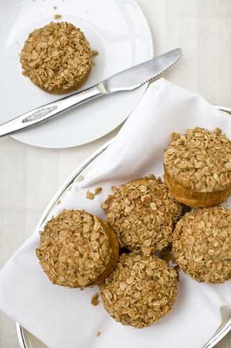 Spiced pear and chestnut-crumble muffins