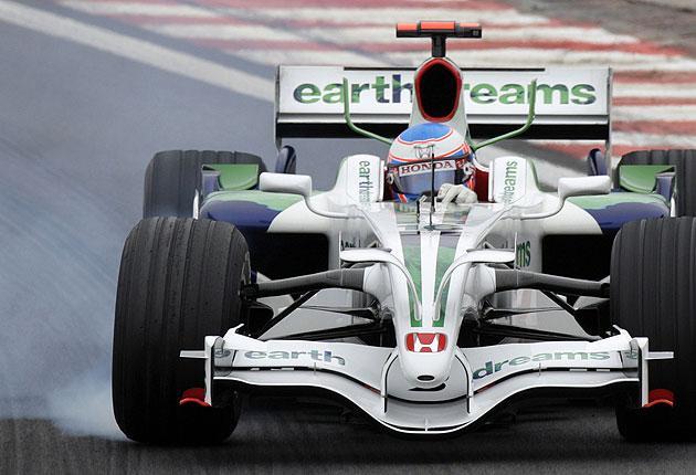 Honda driver Jenson Button during practice for the Brazilian F1 Grand Prix