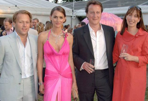 David Ross with former girlfriend Shelley Ross, David Cameron and Samantha Cameron at a Conservative Summer Party