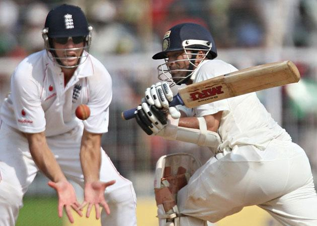 Sachin Tendulkar sweeps the ball during his decisive, unbeaten innings of 103