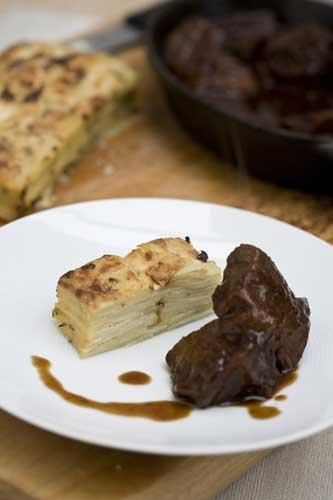 Parsnip, thyme and nutmeg bake with braised beef