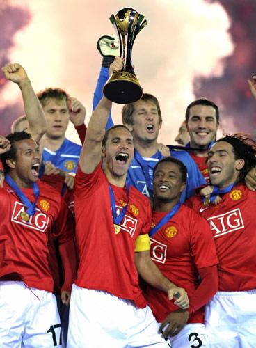 Ferdinand lifts the Club World Cup