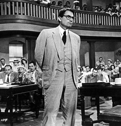 Gregory Peck as the lawyer Atticus Finch in Robert Mulligan's adaptation of Harper Lee's novel
