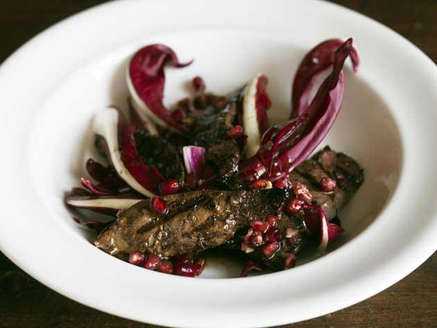 Grilled lamb's liver, Treviso and pomegranate salad