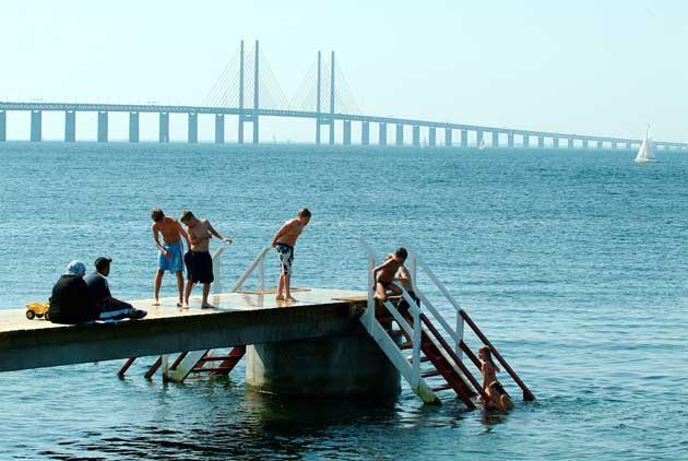 Hot and cold: the Oresund is popular with bathers all year round