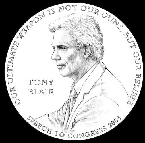 A hirsute version of the former prime minister, as pictured by the US Mint on his congressional medal