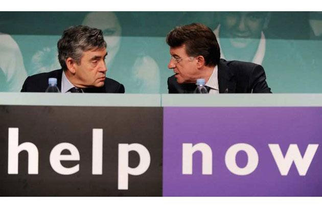 Gordon Brown and Peter Mandelson at a jobs summit yesterday