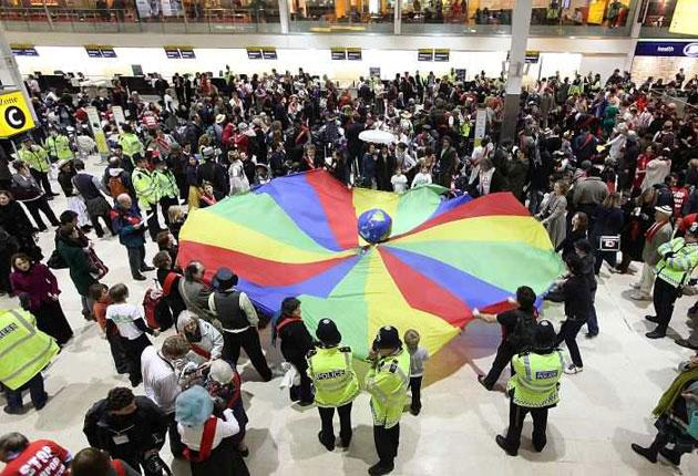 A mass protest yesterday at Heathrow over the planned runway