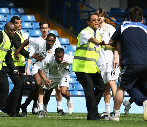 Evra was involved in an altercation with the Chelsea ground staff