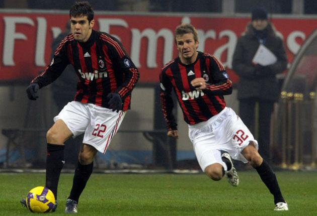 Kaka (left, above) with David Beckham, put his transfer saga behind him on Saturday to play for Milan in the 1-0 win over Fiorentina at San Siro