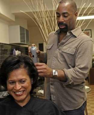 Keith Harley of Keith Harley's Hair and Scalp Clinic, who hopes to be styling Michelle Obama's hair
