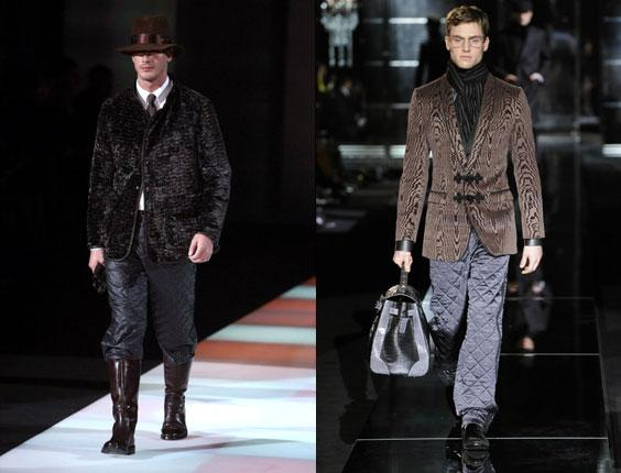 Armani's quilted trousers on the catwalk at Men's Fashion Week in Milan in 2008, left, and, right, Dolce & Gabbana's version