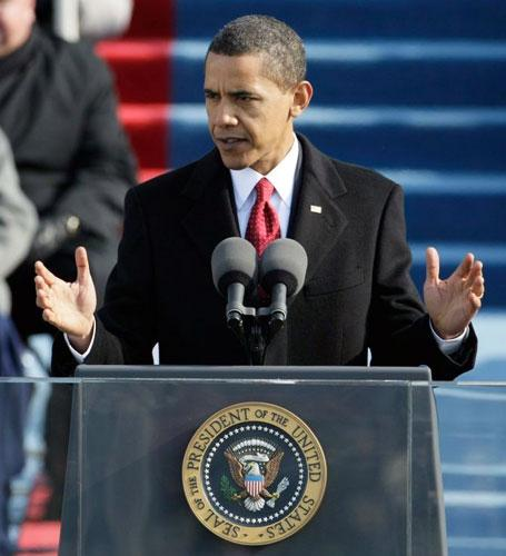 President Obama speaks to the crowds in front of the Capitol