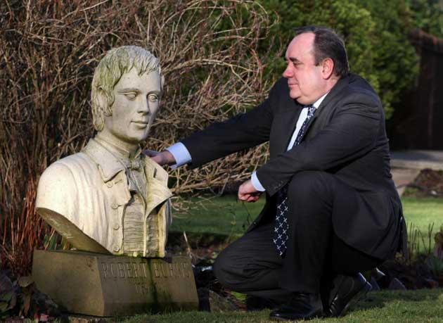 First Minister Alex Salmond with a bust of Burns yesterday