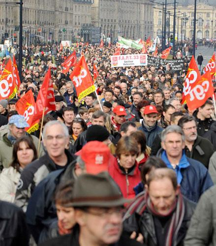 An anti-government demonstration in Bordeaux yesterday