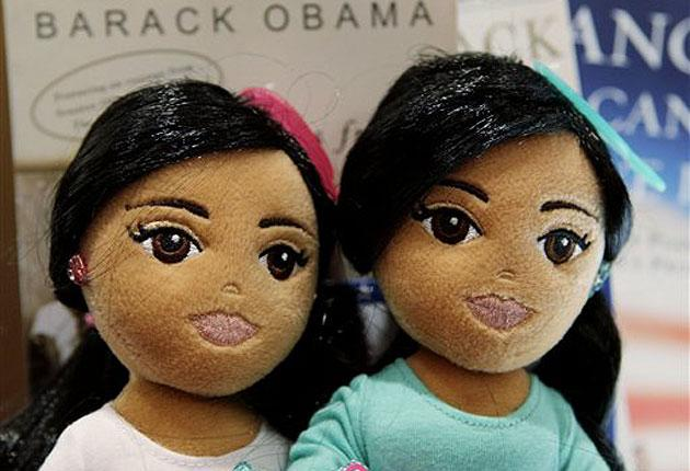 Pictured are the Sweet Sasha, left, and Marvelous Malia dolls made by Ty Inc., the creators of the Beanie Babies. The daughters of President Barack Obama were the inspiration for the latest in the TyGirlz Collection.