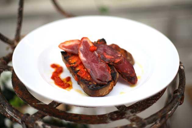 Iberican ham on toasted bruschetta