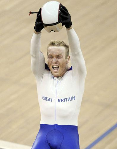 Chris Hoy wins one of his three Olympic golds in the pursuit event in Beijing