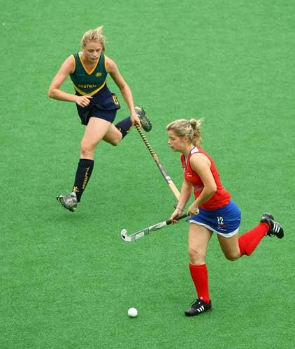 Sophie Bray (right) in action for GB in the Youth Olympics final against Australia, in which she scored the winner