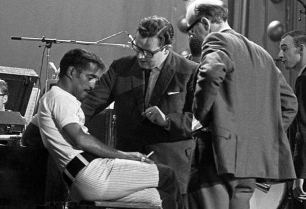 Morris, centre, with Sammy Davis Jnr and the BBC's Head of Variety, Bill Cotton Jnr, during rehearsals for a 1967 TV special