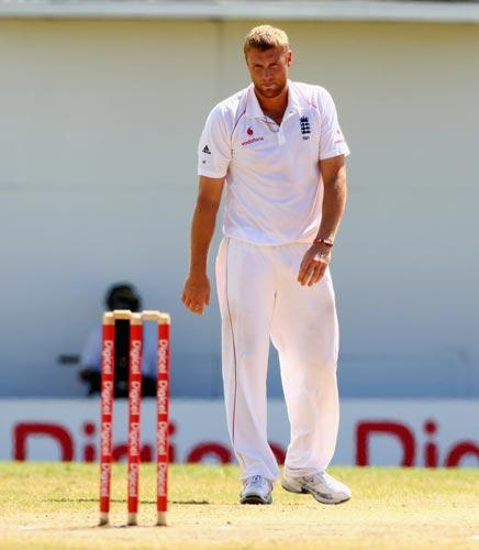 Flintoff is hampered by a sore right hip