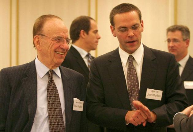 Rupert Murdoch with his son James who is shining within News Corp