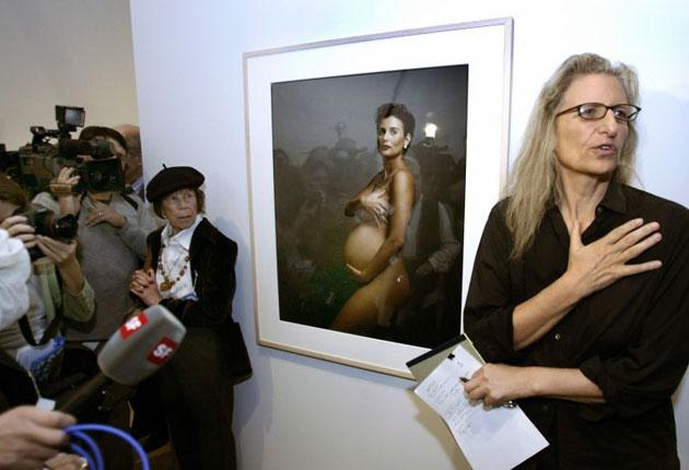A portrait of Demi Moore by Annie Leibovitz is unveiled at a recent exhibition