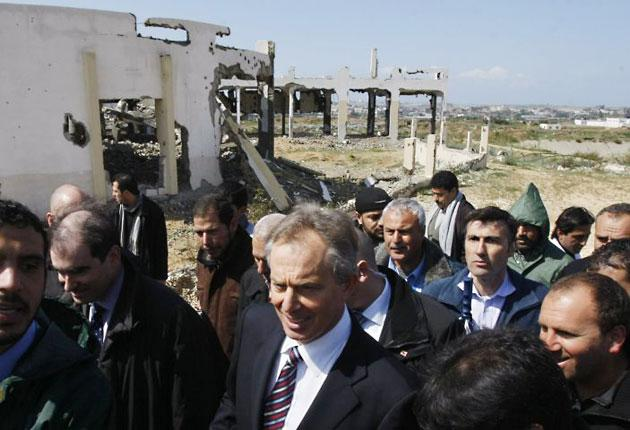 Tony Blair visits Beit Hanun in Gaza yesterday – his first visit to the Hamas-run enclave since he was appointed Middle East envoy
