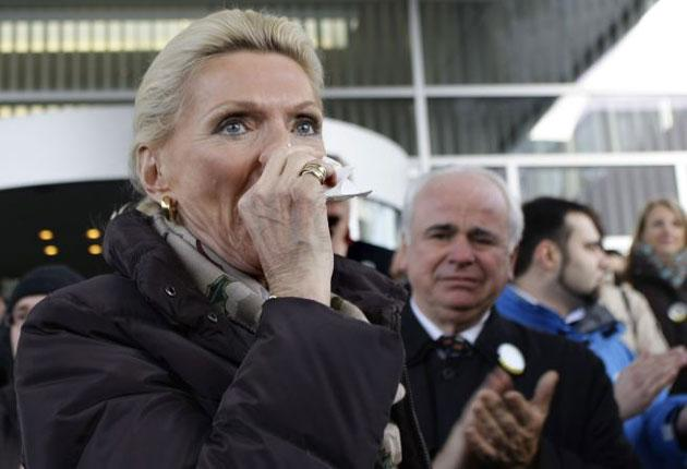 Maria-Elisabeth Schaeffler, the current owner, at a rally near Nuremberg last month. She has admitted that the firm used slave labour during the war