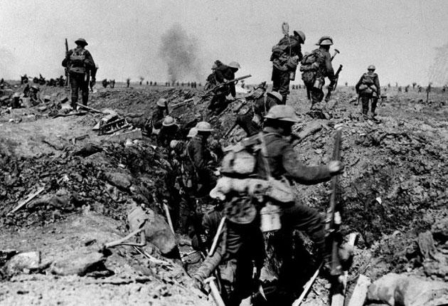 Over the top: British troops take part in the Battle of the Somme of 1916, which provides one of the settings for Sebastian Faulks's 'Birdsong'
