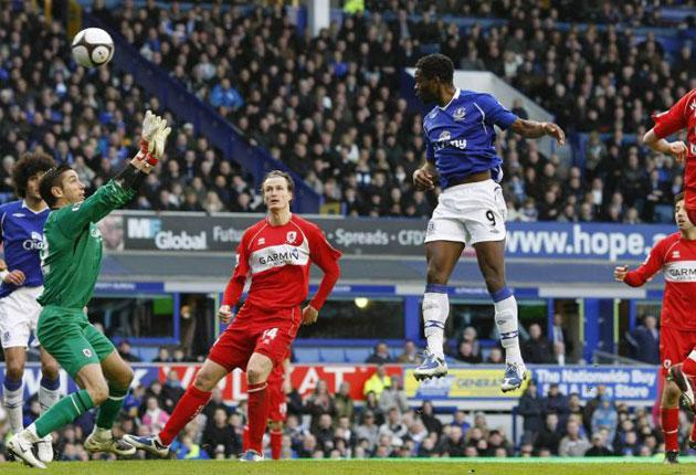 Louis Saha leaps to score the goal that put Everton in their first FA Cup semi-final since 1995