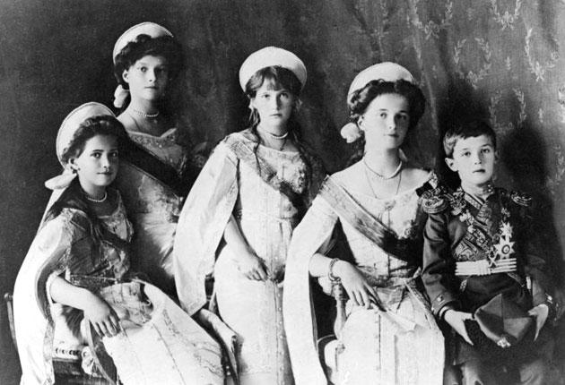 Left to right: The Grand Duchesses Maria, Tatiana, Anastasia and Olga, and the crown prince Alexei