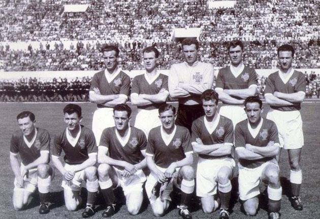 Northern Ireland before a 1957 World Cup tie against Italy in Rome. Casey is far right on the back row