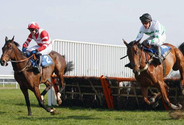 Conflictofinterest (left), a red-hot favourite at 1-10, jumps the final flight alongside 16-1 shot Nothing's Easy at Kempton Park yesterday but it was the outsider who lifted the prize, by a nose