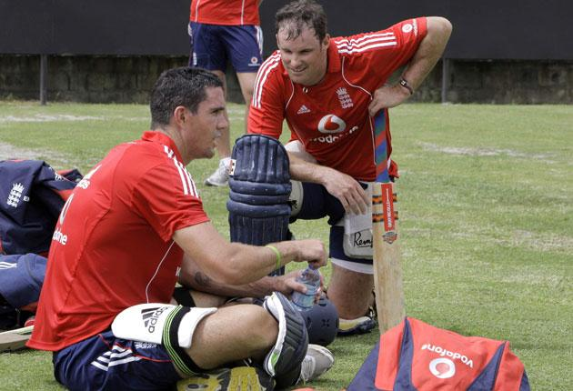 England captain Andrew Strauss (right), who returns to the one-day side for the first time in almost two years today, chats to Kevin Pietersen