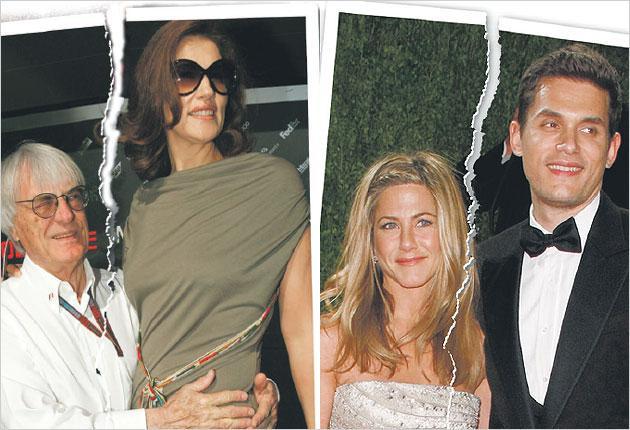 In happier times: Jennifer Aniston and John Mayer (right) and Bernie and Slavica Ecclestone