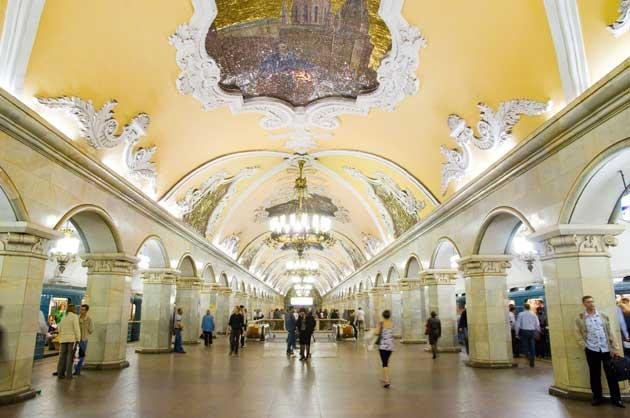 Many of the Moscow metro stations, such as Komsomolskaya, may look beautiful, but overcrowding and poor air quality on trains are common