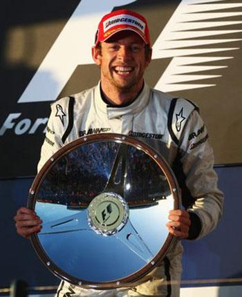 Jenson Button of  Brawn GP celebrates after winning the Australian Formula One Grand Prix at the Albert Park Circuit