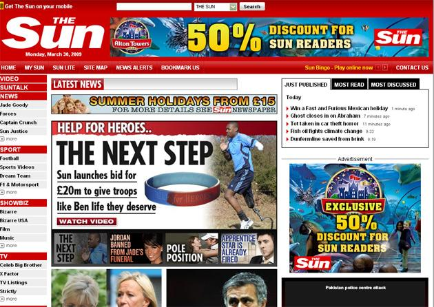 Last month, Sun Online recorded figures 118 per cent up on February 2008, while independent.co.uk rose by 104 per cent over the same period.