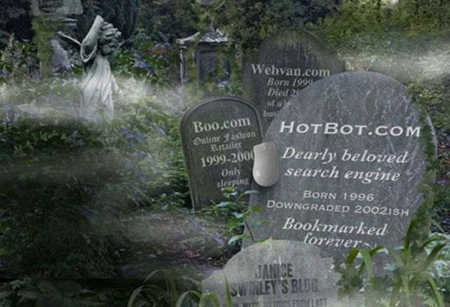 """The headstone tells its own story: """"HotBot.com. Dearly beloved search engine. Born 1996. Downgraded 2002ish. Forever in our bookmarks"""""""