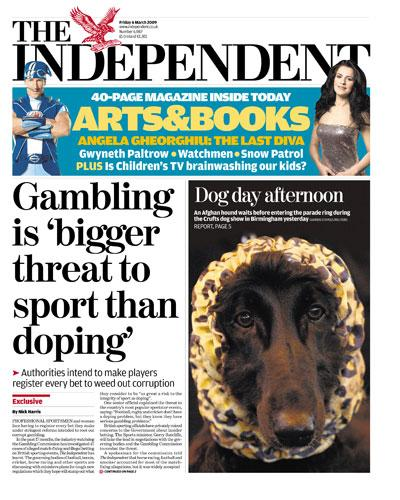 How 'The Independent' reported the threat to sport from gambling