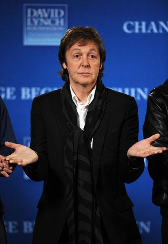 Former Beatle Paul McCartney speaks at a press conference at Radio City Music Hall in New York to launch an initiative to teach one million at-risk youth to meditate