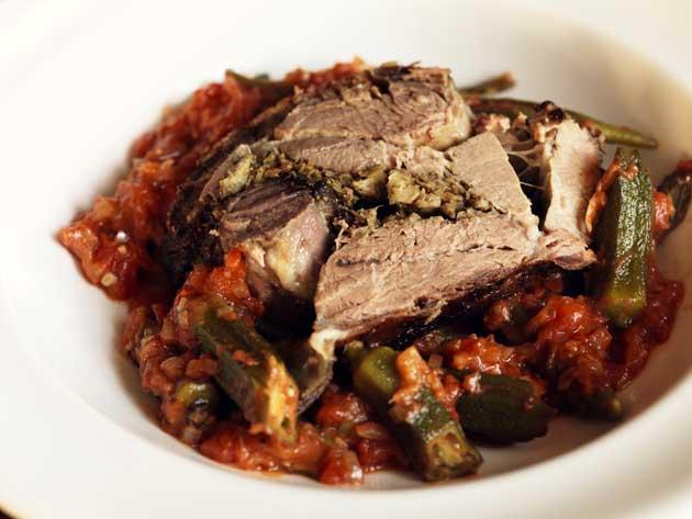 Slow roast shoulder of lamb with okra