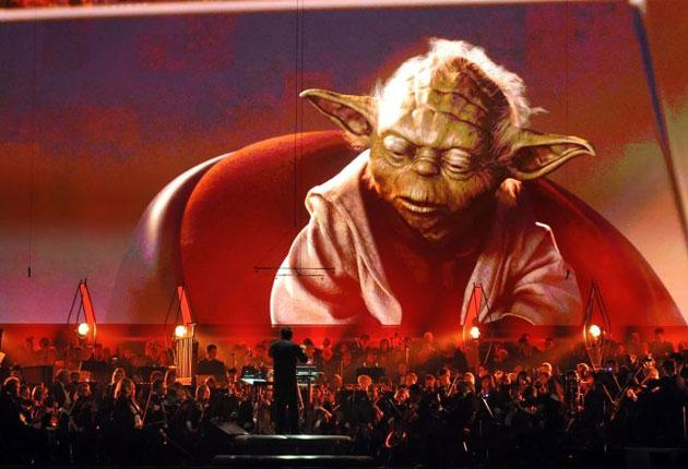 The 86 piece Royal Philharmonic Orchestra and Choir perform during the world premiere of 'Star Wars: A Musical Journey'