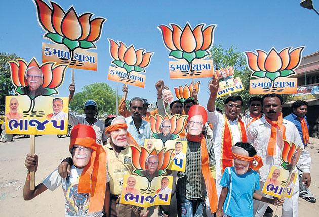 BJP supporters on the campaign trail in Ahamadabad last week