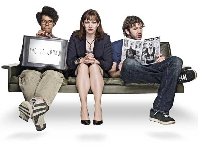 From left: Richard Ayoade, Katherine Parkinson and ChrisO'Dowd in The IT Crowd