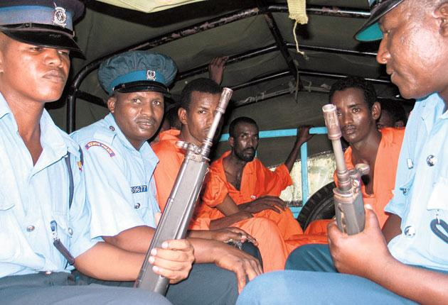 Suspected Somali pirates on their way to court in Mombasa